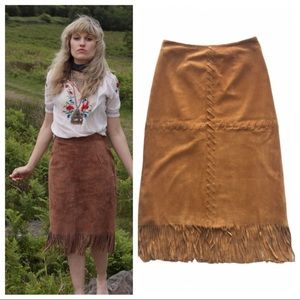 Urban Hillbilly suede leather fringe midi skirt M